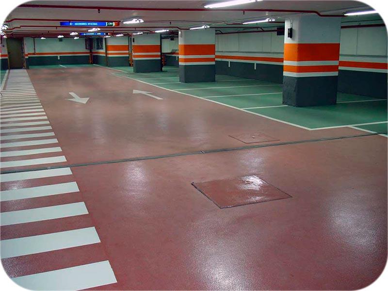 Pavimento para parking público sobre hormigón