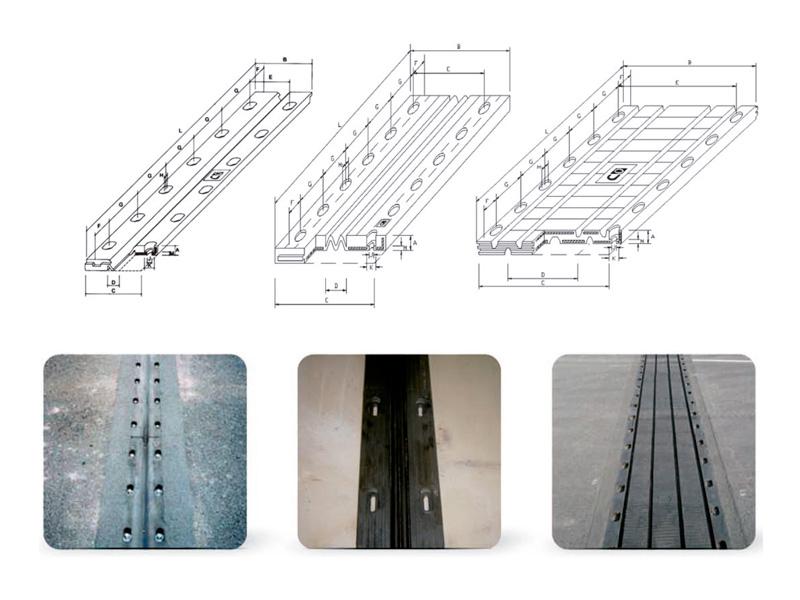 Juntas dilatación de tableros puente Simétricas-pequeño-mediano-recorrido
